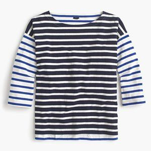 NWT J. Crew Boatneck T Shirt in Blue Mixed Stripe